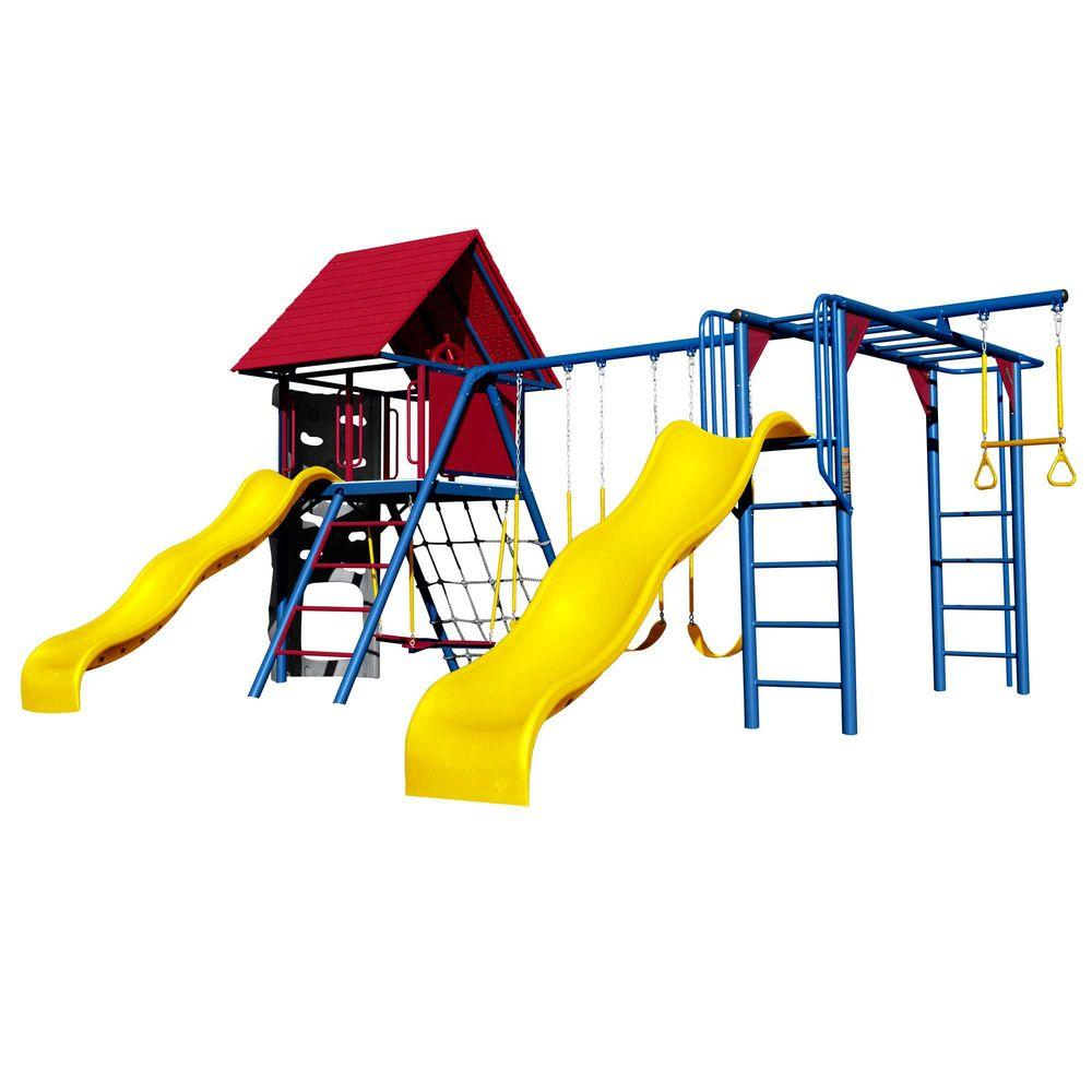 Double Slide Deluxe Primary Colors Swing Set