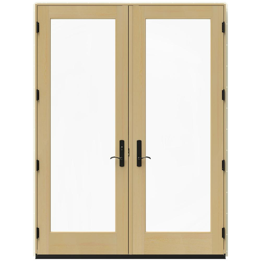 Jeld wen 72 in x 96 in w 4500 vanilla clad wood right for Screen for french doors inswing