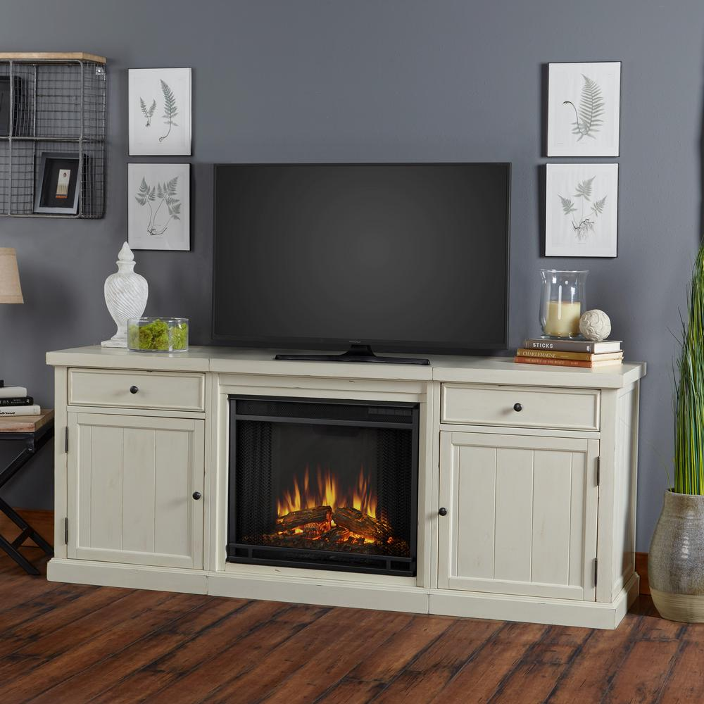 Superbe Entertainment Center Electric Fireplace In Distressed White