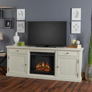 Real Flame Cassidy 69 inch Entertainment Center Electric Fireplace in Distressed White by Real Flame