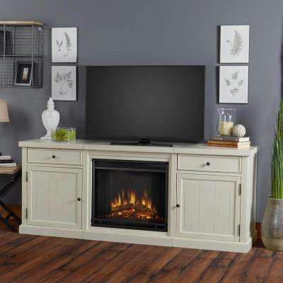 Cassidy 68 in. Electric Fireplace TV Stand Entertainment Center in Distressed White