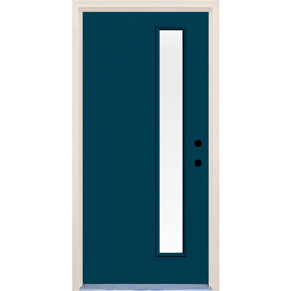 Builders Choice 36 in. x 80 in. Atlantis Left-Hand 1 Lite Clear Glass Painted Fiberglass Prehung Front Door with Brickmould