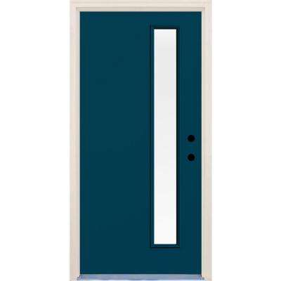 36 in. x 80 in. Atlantis Left-Hand 1 Lite Clear Glass Painted Fiberglass Prehung Front Door with Brickmould