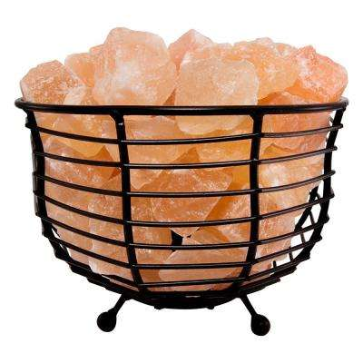 Himalayan Natural Salt 6 in. Pink Air Purifying Bowl Mesh Basket Lamp with Salt Chunks, Bulb and Electric Wire