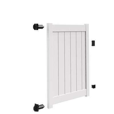 Bryce and Washington Series 4 ft. W x 5 ft. H White Vinyl Walk Fence Gate Kit