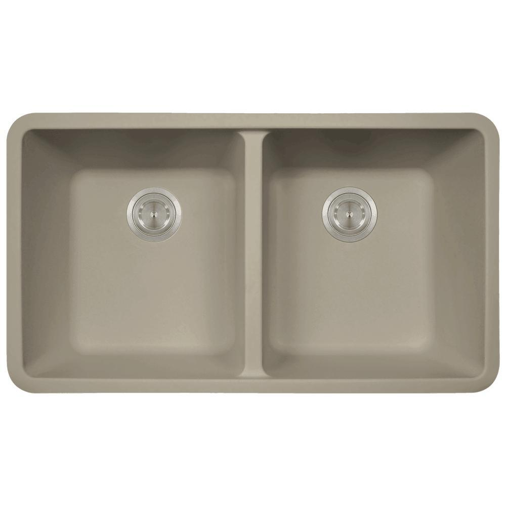 Mr direct undermount granite composite 32 5 in 0 hole double bowl kitchen sink in