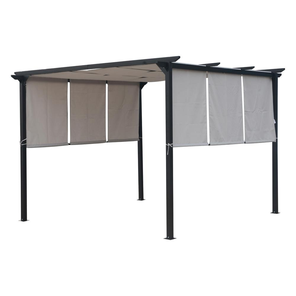 Noble House 9.58 ft x 9.58 ft. Gray Fabric Canopy Gazebo ...