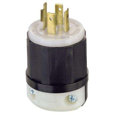 20 Amp 480-Volt 3-Phase Locking Grounding Plug, Black/White