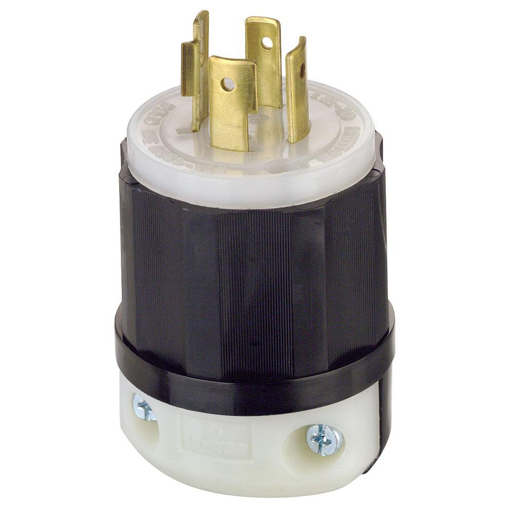 Leviton 20 Amp 480-volt 3-phase Locking Grounding Plug  Black  White-2431