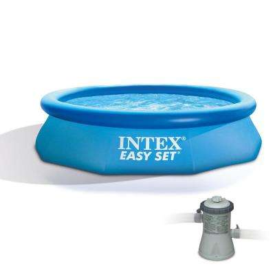 10 ft. x 30 in. Round Easy Set Above Ground Inflatable Family Swimming Pool and Pump