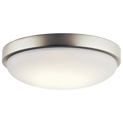 Ceiling Space 11.5 in. Brushed Nickel Integrated LED Flush Mount Ceiling Light with White Acrylic Diffuser