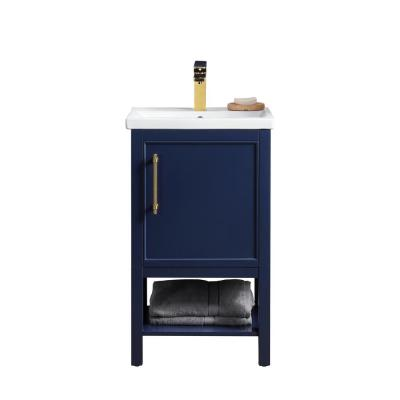Taylor 20 in. W x 15 in. D x 34 in. H Bath Vanity in Navy Blue with Ceramic Vanity Top in White with White Basin