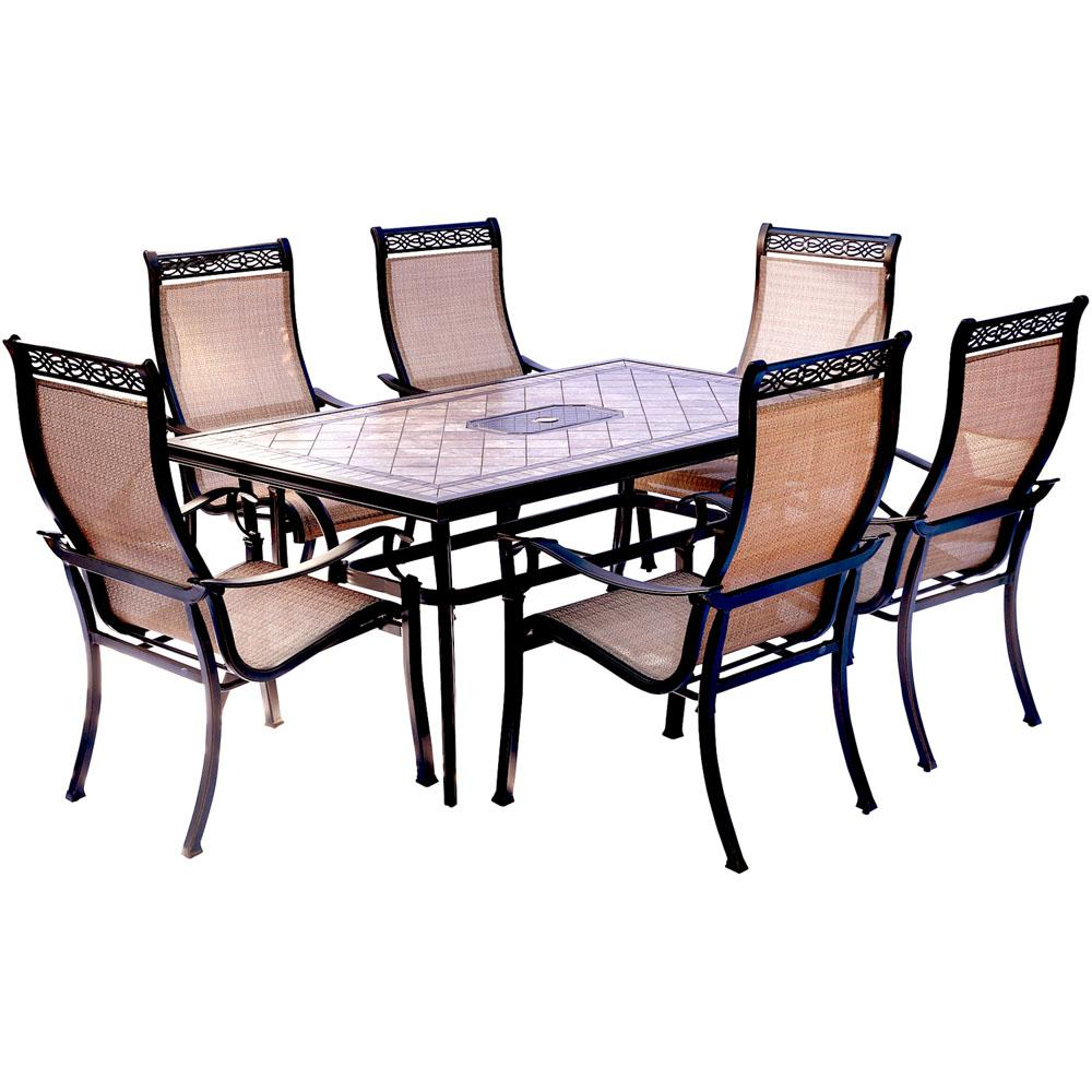 Hanover Monaco 7 Piece Aluminum Outdoor Dining Set With Rectangular Tile Top Table And Contoured