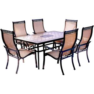 Hanover Monaco 7-Piece Aluminum Outdoor Dining Set with Rectangular Tile-Top Table and Contoured Sling... by Hanover