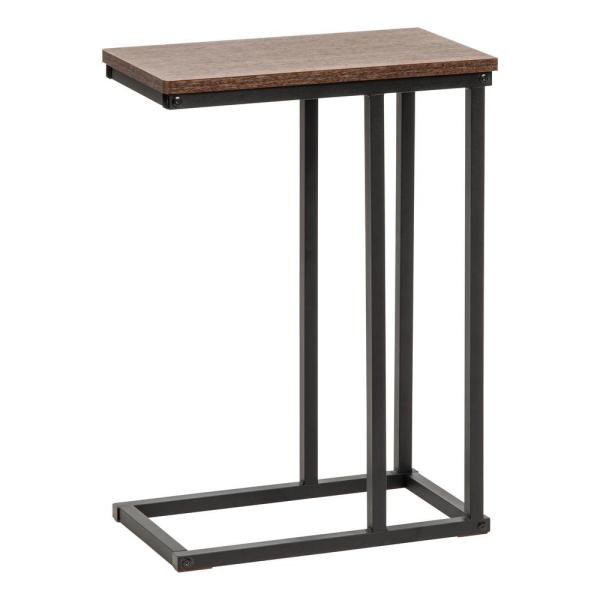 Brown C-Shaped Side Table