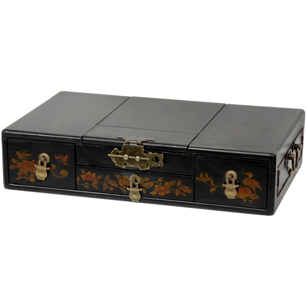 Oriental Furniture Black Lacquer Mirror Jewelry Box
