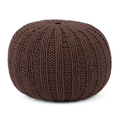 Shelby Transitional Round Hand Knit Pouf in Chocolate Brown Cotton
