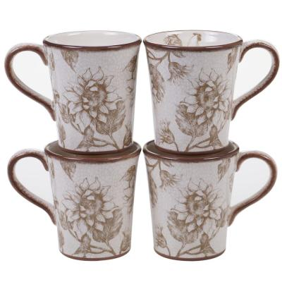 Toile Rooster 16 oz. Multi-color Mug (Set of 4)