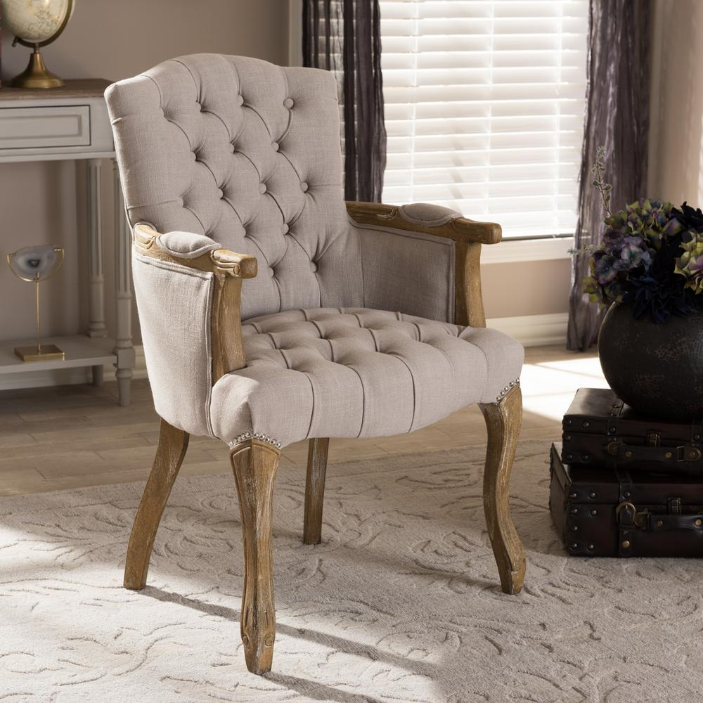 Baxton Studio Clemence Beige Fabric Upholstered Dining Arm Chair