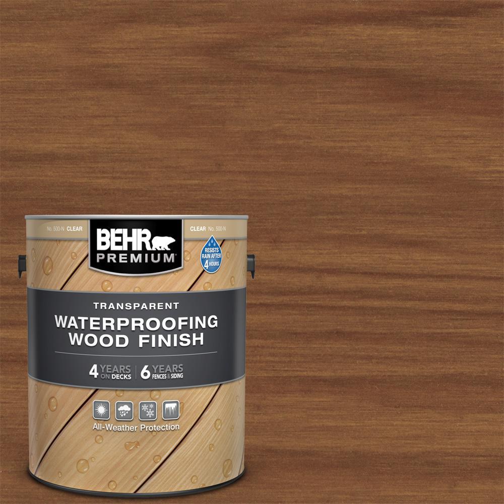 BEHR Premium 1 gal. #T-171 Antique Oak Transparent Waterproofing Exterior Wood Finish