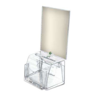 Medium Molded Lottery Box with Lock and Key, Clear