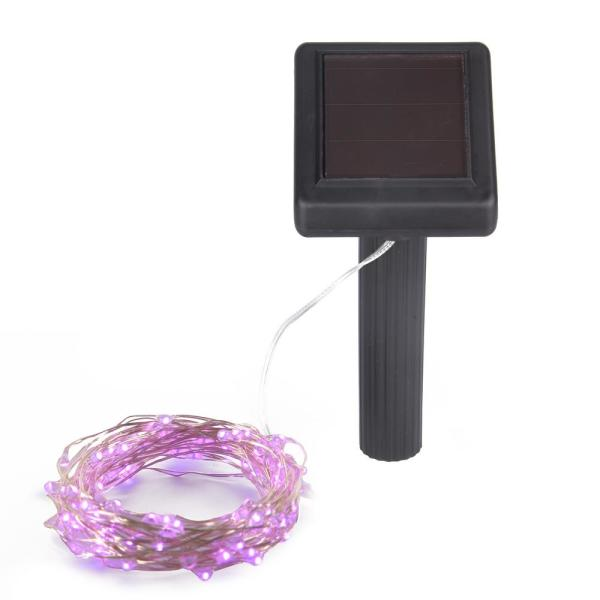 20 ft. Outdoor Solar 100-Micro LED Pink Bulb Integrated LED String Light