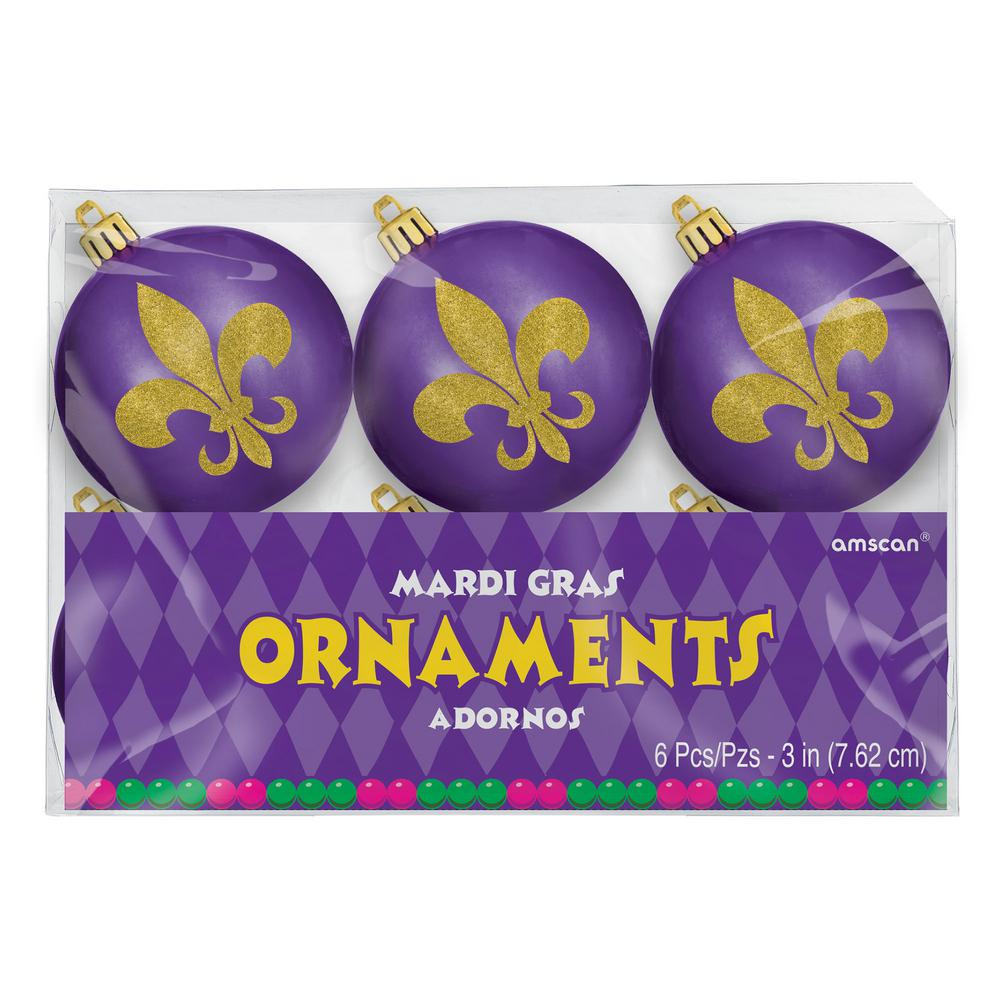 3 in. Mardi Gras Fleur De Lis Ornaments (3-Pack) You may think it's Christmas when you see these Fleur De Lis Ornaments. These shiny purple ornaments feature a gold glitter Fleur De Lis. With the included hooks you can hang these festive ornaments on Mardi Gras or Christmas trees. Perfect for adding a unique touch to your decorations.