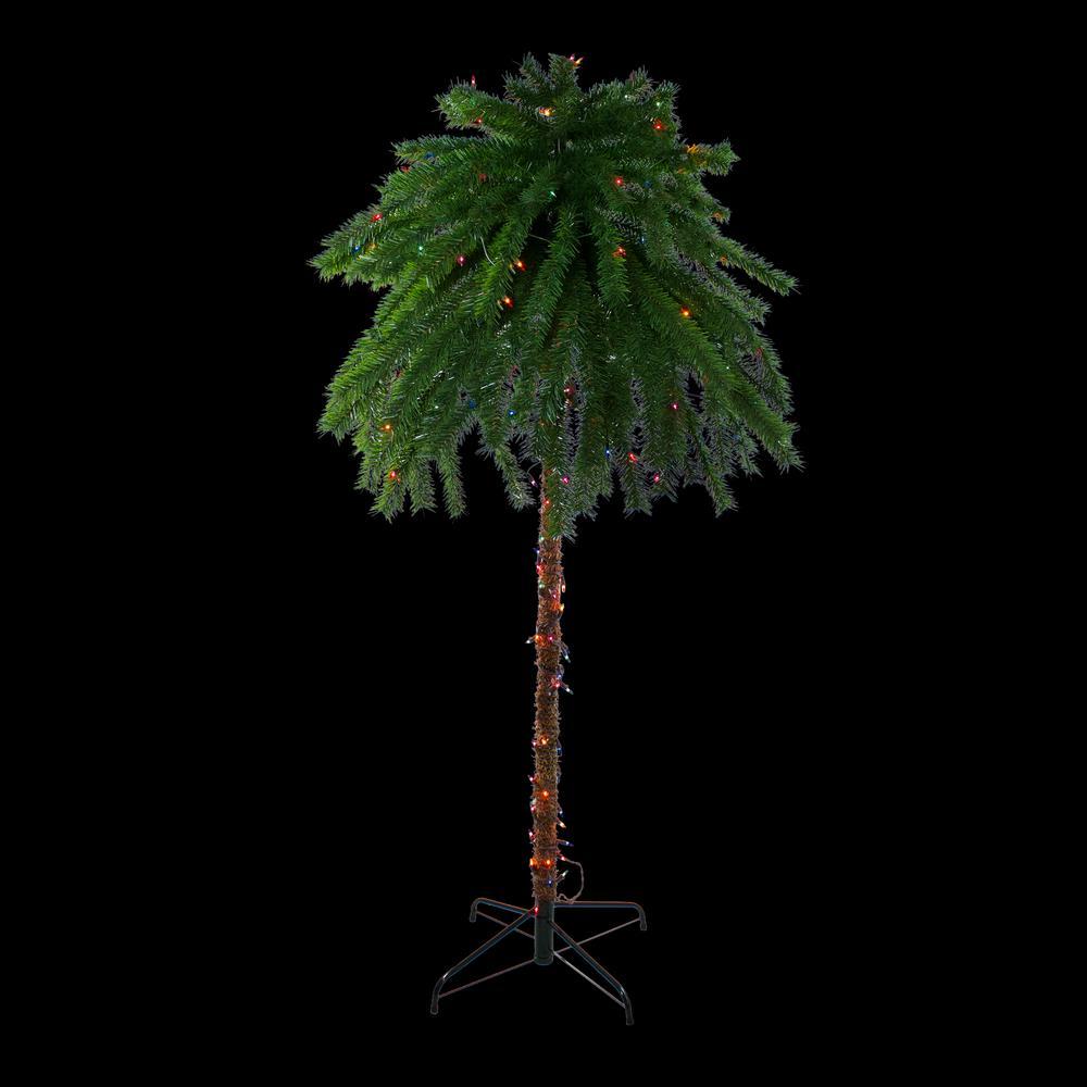 6 ft. Pre-Lit Multi-Color Lights Tropical Outdoor Patio Artificial Palm Tree