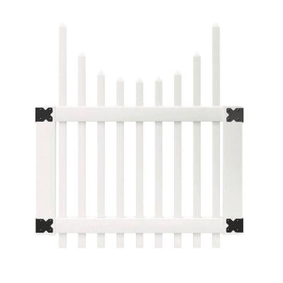 3-1/2 ft. W x 4 ft. H White Vinyl Chatham Scalloped Top Spaced Picket Fence Gate
