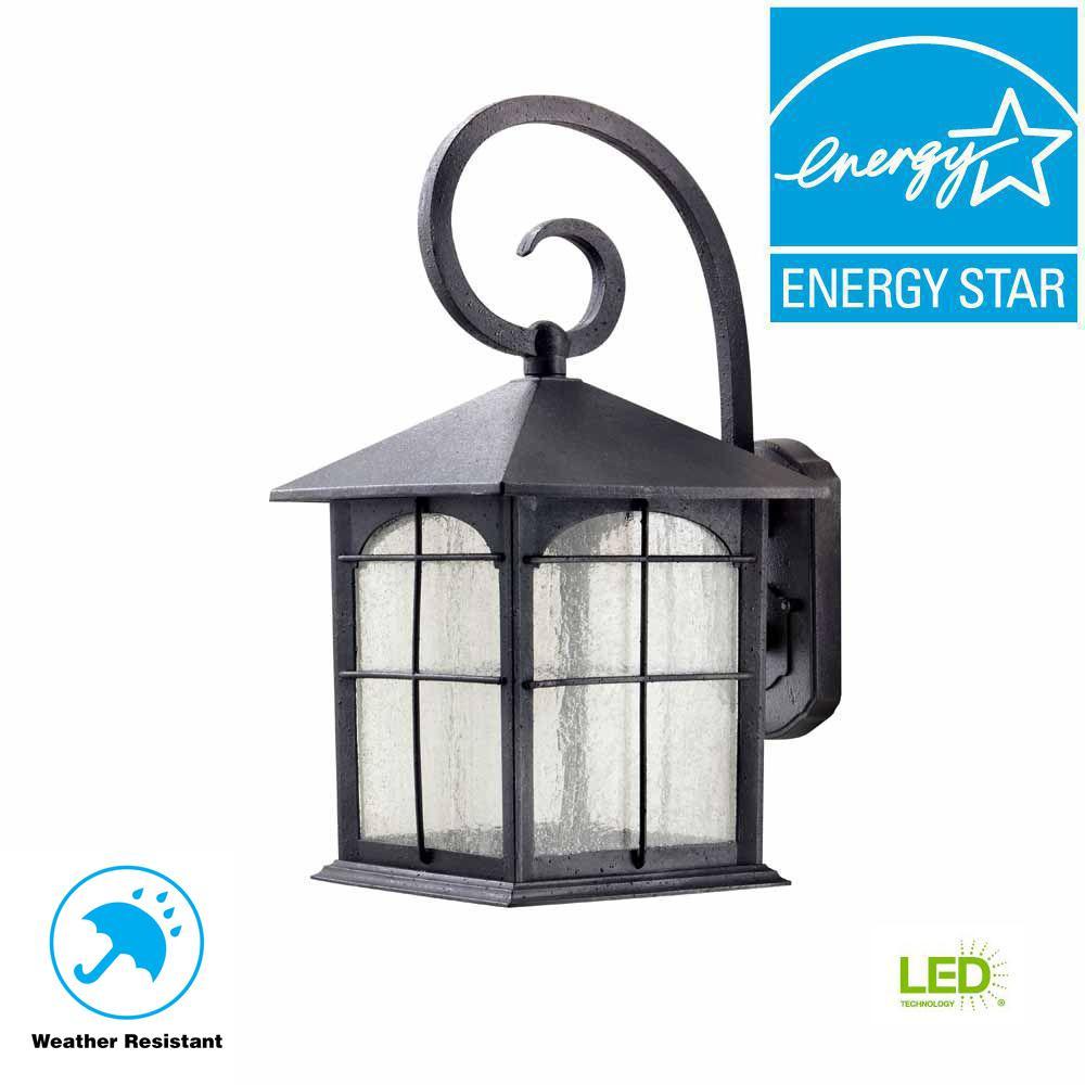 Aged Iron Outdoor LED Wall Lantern