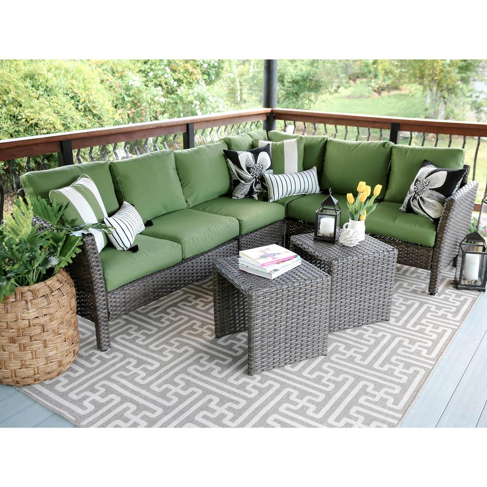 Superb Canton 6 Piece Wicker Outdoor Sectional Set With Green Cushions