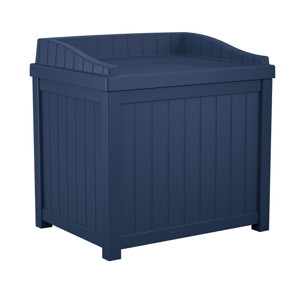 Navy Blue Outdoor Storage Bin Seat Deck Patio Porch Garden Box All Weather  Bench