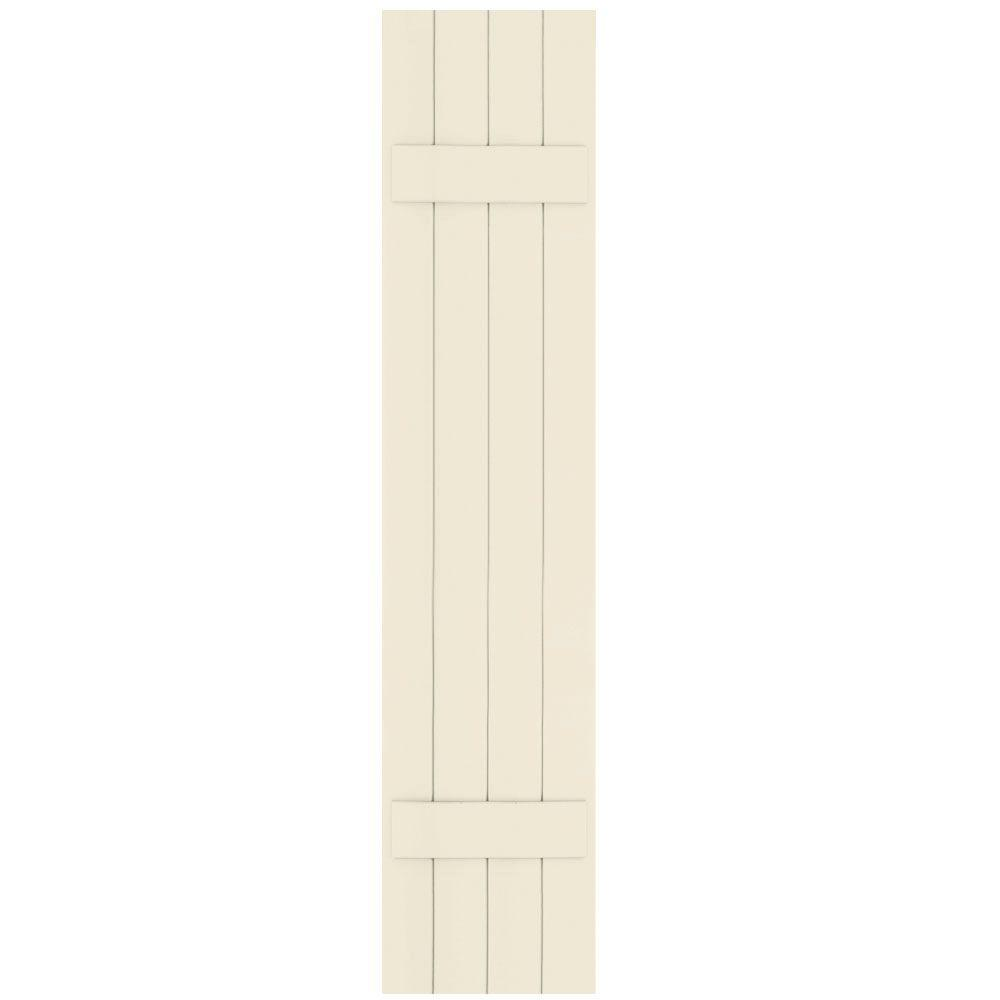 Winworks Wood Composite 15 in. x 72 in. Board and Batten Shutters Pair #651 Primed/Paintable