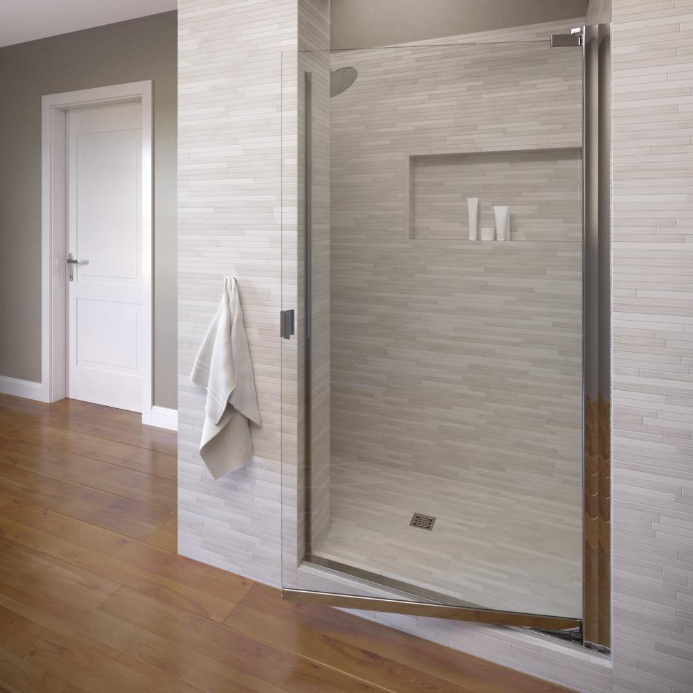 Classic 30-1/8 in. x 66 in. Semi-Frameless Pivot Shower Door in Silver