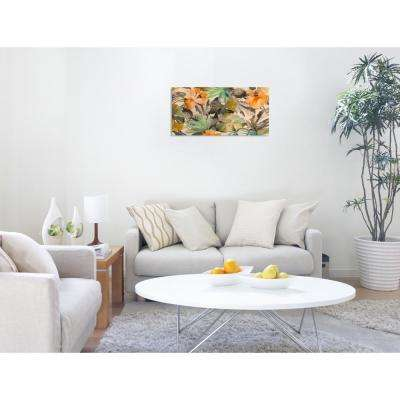 24 in. H x 48 in. W 'SAI - Warm Leaves' by Oliver Gal Framed Canvas Wall Art