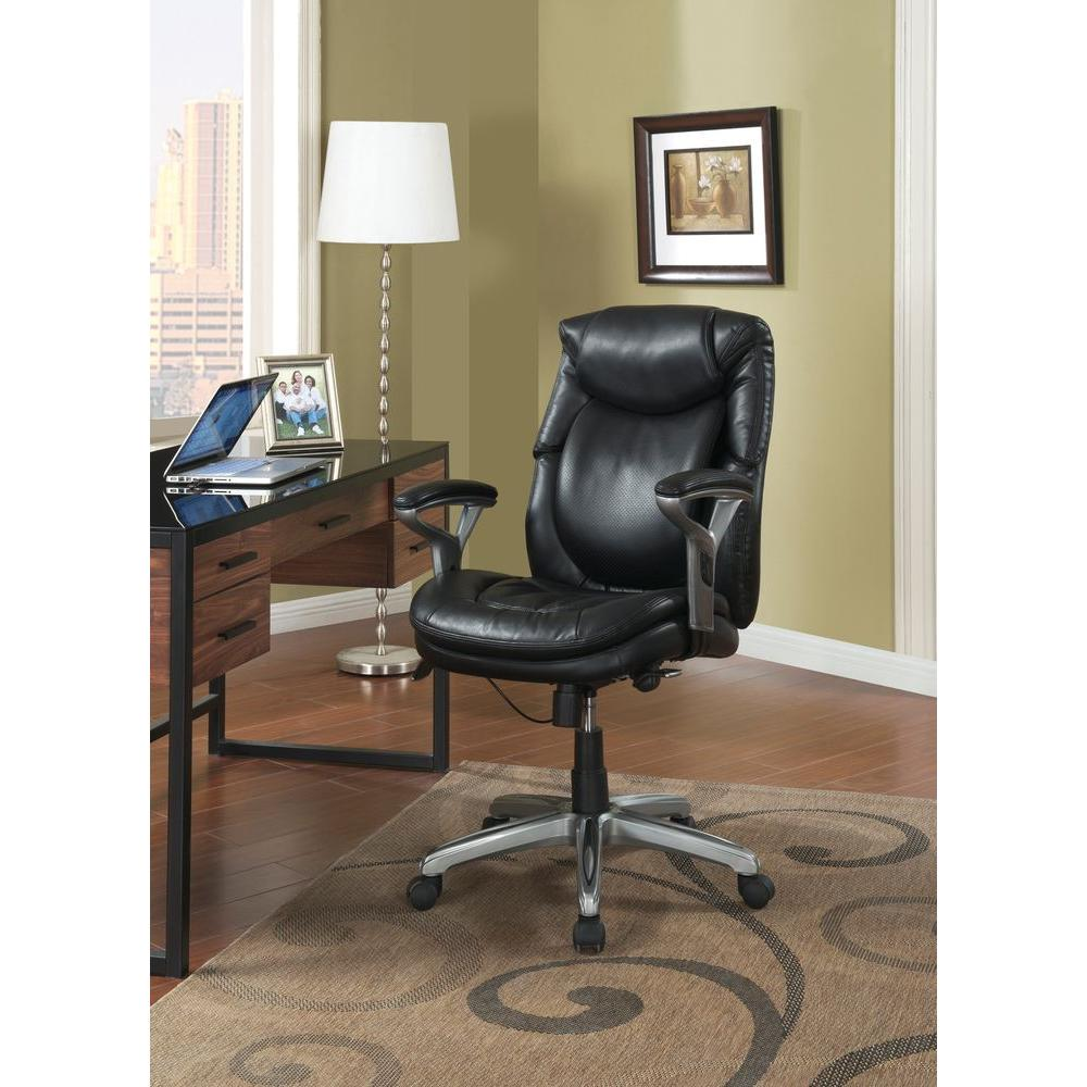 Serta Wellness by Design Black Bonded Leather Mid Back Of...