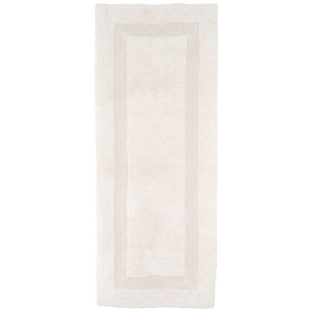 Ivory 2 ft. x 5 ft. Cotton Reversible Extra Long Bath Rug Runner