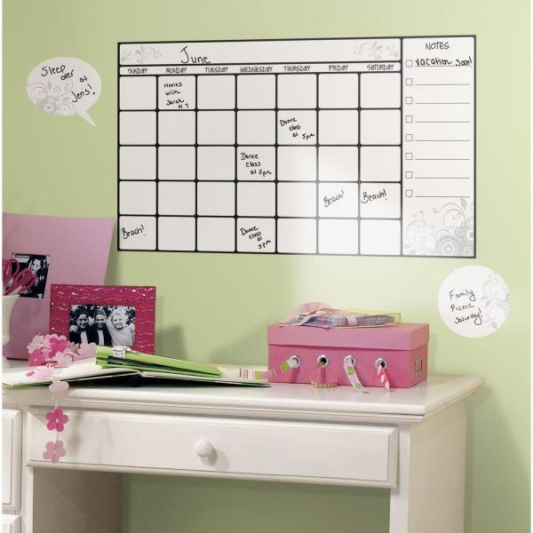 10 in  x 18 in  Dry Erase Calendar 7-Piece Peel and Stick Wall Decal