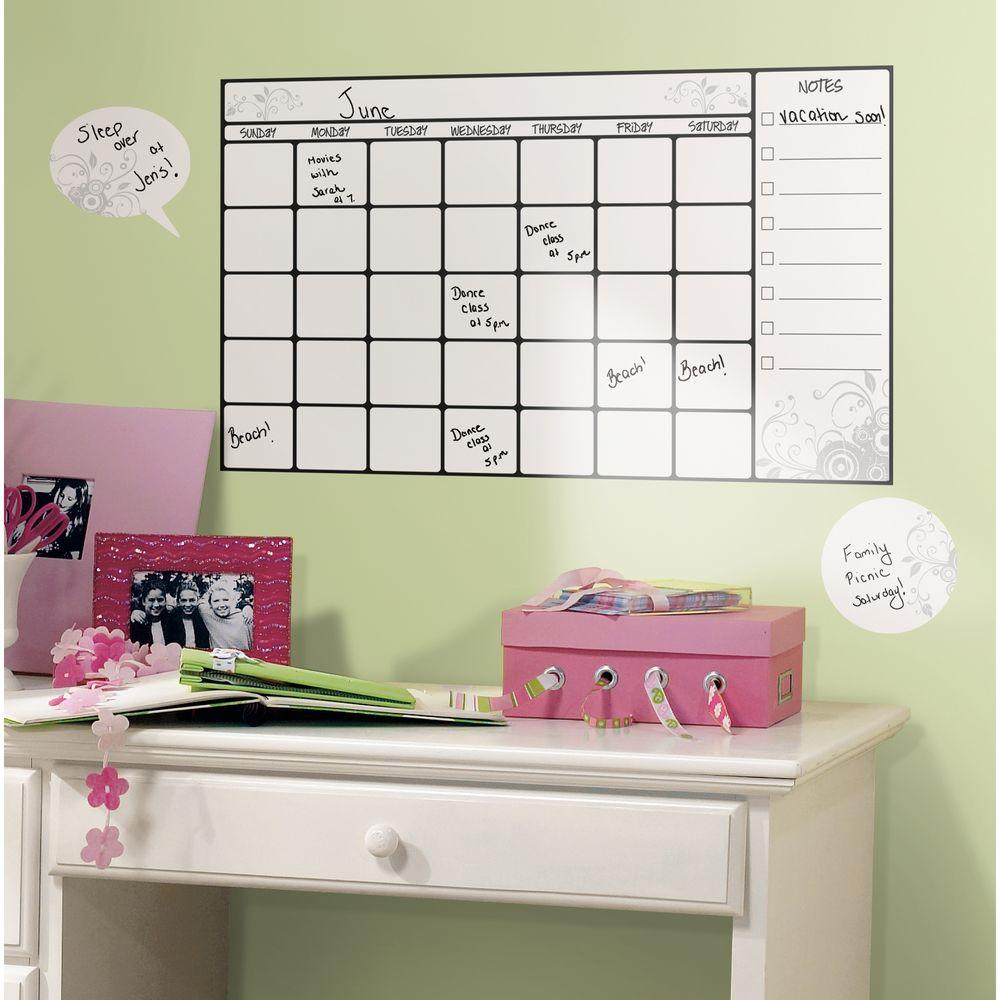 null 10 in. x 18 in. Dry Erase Calendar 7-Piece Peel and Stick Wall Decal