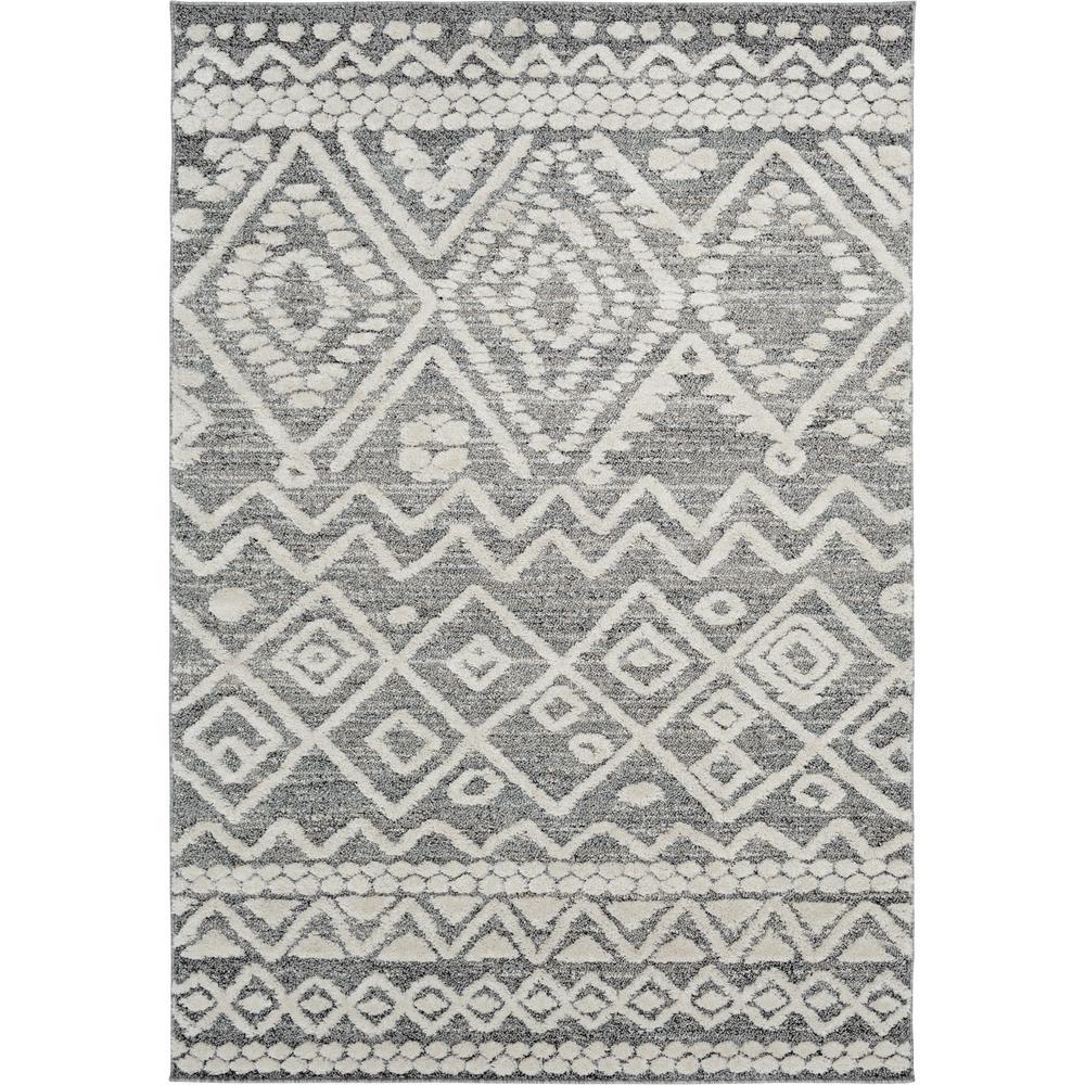 Bazaar Sabian White/Grey 5 ft. x 7 ft. Geometric Polypropylene Area Rug