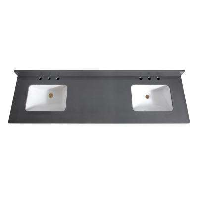 73 in. W x 22 in. D x 1.5 in. H Quartz Vanity Top in Gray