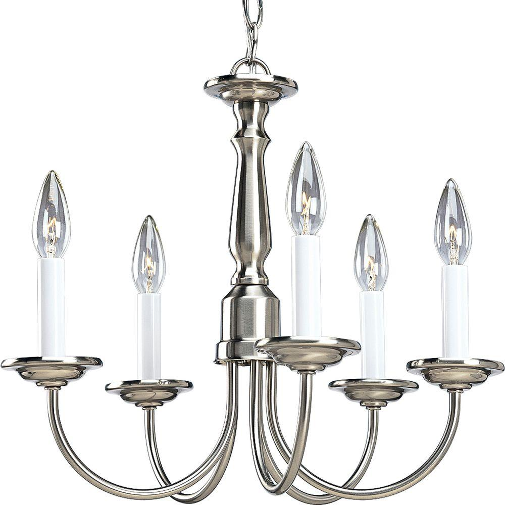 Progress Lighting 5 Light Brushed Nickel Chandelier P4009