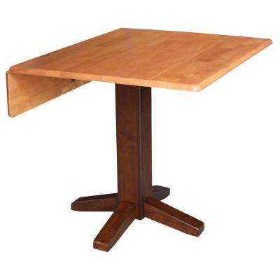 Cinnamon and Espresso Solid Wood Dropleaf Dining Table