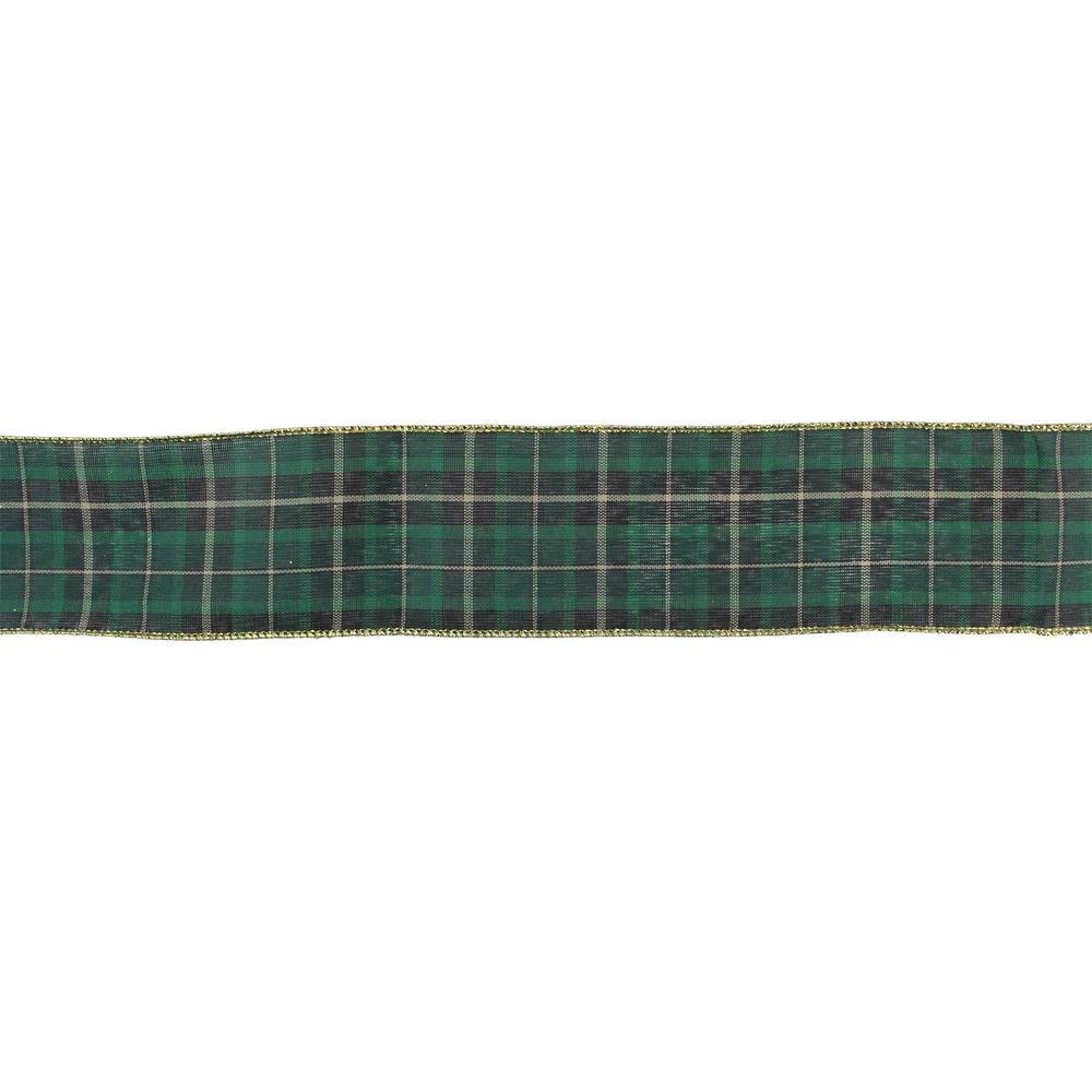 2.5in Wire Ribbon Green with Metallic Green  Edge 6 yards long