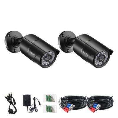 Wired 1080p Outdoor Indoor Bullet 4-in-1 TVI/CVI/AHD/Analog Security Camera with BNC Conversion (2-Pack)