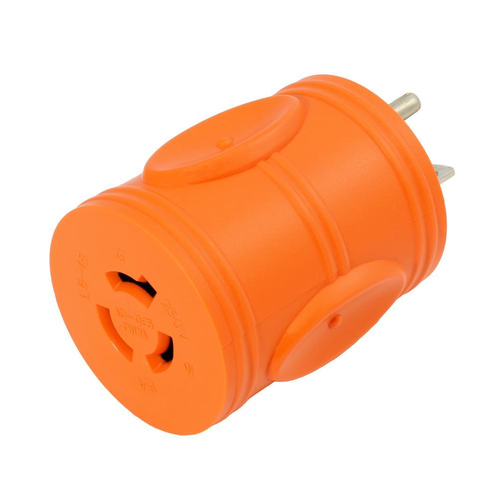 Locking Plug Adapter 6-15P 15 Amp 250-Volt Male Plug to Locking Female L6-15R 15 Amp Connectors