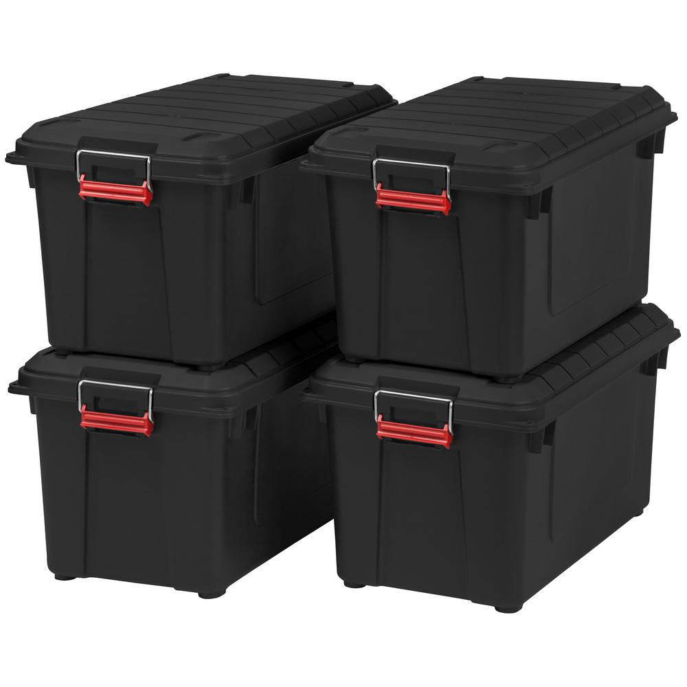 IRIS 87 Qt. Weather Tight Store It All Storage Bin in Black (Pack of  sc 1 st  The Home Depot : weather proof storage bins  - Aquiesqueretaro.Com