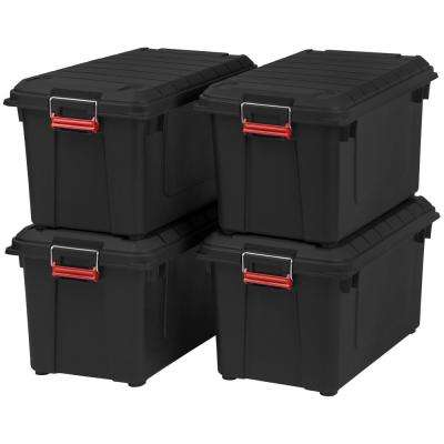 87 Qt. Weather Tight Store It All Storage Bin in Black (Pack of 4)