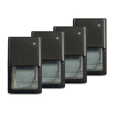 Warwick 20-Watt Bronze Outdoor Integrated LED Wall Pack Light with Integrated Photocell Dimming Surge Protector (4-Pack)