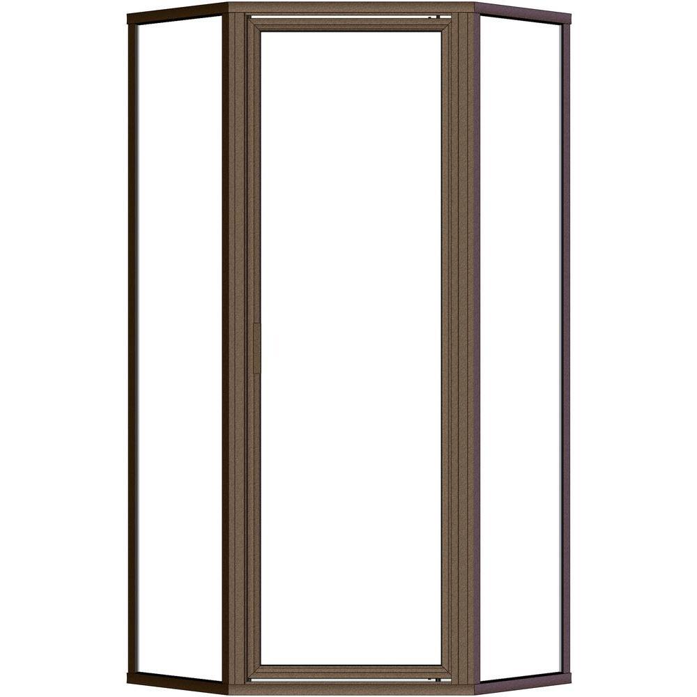 Deluxe 25 in. x 68-5/8 in. Framed Neo-Angle Shower Door in Oil Rubbed Bronze